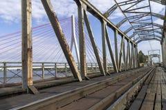 Hängebrücke über der Weichsel Lizenzfreie Stockfotografie
