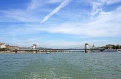 Hängebrücke auf der Donau Budapest Lizenzfreie Stockfotografie