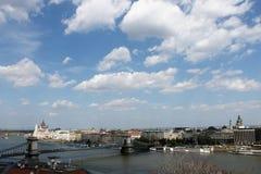 Hängebrücke in Budapest-Panorama Stockbild