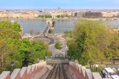 Hängebrücke und Fluss Donau, Budapest Lizenzfreie Stockfotos