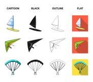Hängegleiter, Fallschirm, Rennwagen, Wasserfahrzeug Gesetzte Sammlungsikonen des extremen Sports in der Karikatur, Schwarzes, Ent Stockfotos
