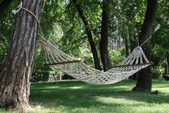 Hängematte unter zwei Bäumen Lizenzfreies Stockbild