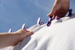Hängen der Wäscherei Lizenzfreie Stockfotos