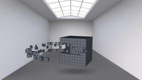 Hängen des Würfels von einer Vielzahl kleinen Polygonen im Großen leeren Raum Ausstellungsraum mit abstrakten Kubikformen lizenzfreie abbildung