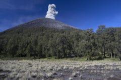 Hängen Sie Semeru, einen rauchenden Vulkan auf Java, Indonesien ein Stockfoto