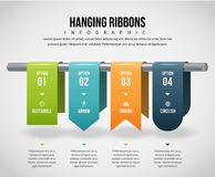 Hängende Bänder Infographic Lizenzfreies Stockbild