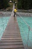 Hängende Brücke über Fluss Stockbilder