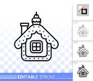 Hängende einfache schwarze Linie Vektorikone des Hauses lizenzfreie abbildung
