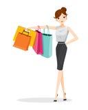 Hängende Einkaufstaschen der Frau auf ihrem Arm Lizenzfreie Stockbilder