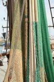 Hängende Fischernetze Stockbild