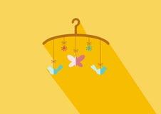 Hängende flache Ikone des Spielzeugs der Babykrippe mit langem Schatten vektor abbildung