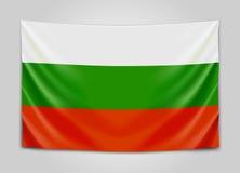 Hängende Flagge von Bulgarien Republik Bulgarien Staatsflaggekonzept Lizenzfreie Stockfotografie
