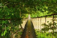Hängende Fußbrücke stockfoto
