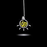 Hängende Glühlampe der Idee - Konzeptvektor Lizenzfreie Stockfotos