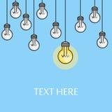 Hängende Glühlampen mit einer beleuchtet kreative Ideenillustration Montieren Sie letztes Stück des Puzzlespiels Linie Art Inspir vektor abbildung