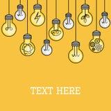Hängende Glühlampen mit einigem beleuchteten kreative Ideenillustration Montieren Sie letztes Stück des Puzzlespiels Linie Art In lizenzfreie abbildung