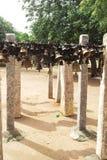 Hängende Glocken der indischen traditionellen Methode vor Gott für Versprechen von nerthikadan lizenzfreie stockbilder