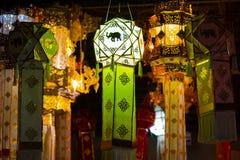 Hängende Laterne im thailändischen Tempel und im thailändischen Haus Gemacht vom Bambuspapier Chiang Mai, thailändische Lanna Art Stockbilder