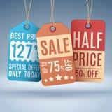 Hängende Preise der Weinlese oder Verkaufsaufkleber Vektoreinkaufskonzept Stockbilder