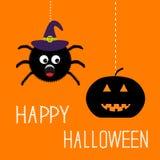 Hängende Spinne in Hexenhut und -kürbis glücklicher Halloween-Karte Flaches Design Lizenzfreies Stockbild