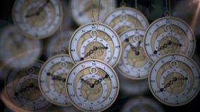 Hängende Taschenuhren, die in den Schatten ticken stock abbildung