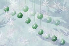 Hängende Weihnachtsverzierungen mit frohen Weihnachten vektor abbildung