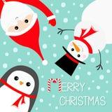 Hängender umgedrehter Schneemann-Pinguin Santa Claus, die roten Hut, Kostüm, Bart trägt Frohe Weihnachten Guten Rutsch ins Neue J stock abbildung