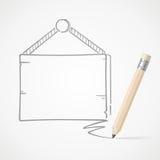 Hängendes Brett der Bleistift-Zeichnung Stockfoto