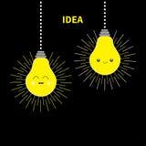 Hängendes der Glühlampe-Ikone der Idee zwei gesetztes glückliches lächelndes Gesicht Glänzender Effekt Flaches Design Nette Zeich Lizenzfreie Stockbilder
