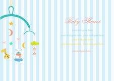 Hängendes Spielzeug der Babykrippe auf Streifenhintergründen, vektor abbildung