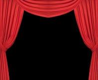 hänger upp gardiner den breda röda theatren Royaltyfria Foton