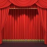hänger upp gardiner den röda etappen stock illustrationer