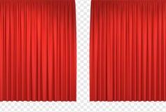 hänger upp gardiner den röda etappen vektor illustrationer
