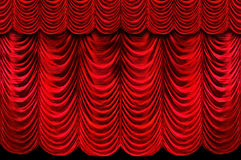 hänger upp gardiner den röda etappen Royaltyfria Bilder
