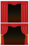 hänger upp gardiner den röda teatern Fotografering för Bildbyråer