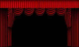 hänger upp gardiner den röda teatern Royaltyfri Foto