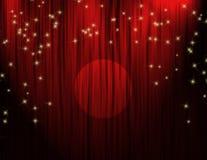 hänger upp gardiner den röda teatern Arkivfoto