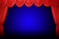 hänger upp gardiner den röda teatern Arkivfoton