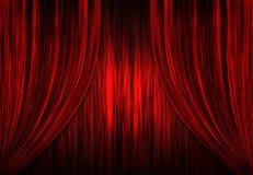 hänger upp gardiner den röda teatertheatren Royaltyfria Bilder