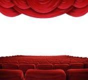 hänger upp gardiner filmredteatern Arkivbild