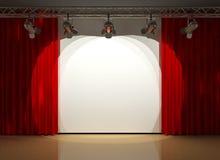hänger upp gardiner lightingetappen Arkivfoto