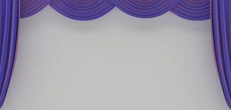 hänger upp gardiner lillateatern Arkivfoton