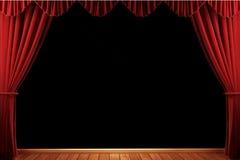 hänger upp gardiner röd teatersammet Fotografering för Bildbyråer