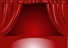 hänger upp gardiner röd teatersammet Royaltyfri Foto