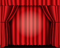 hänger upp gardiner röd teatersammet Royaltyfri Fotografi