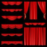 hänger upp gardiner red royaltyfri illustrationer