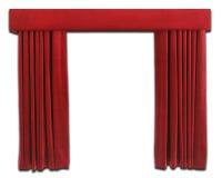 hänger upp gardiner red Arkivfoton