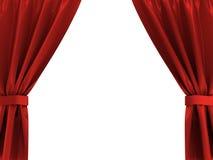 hänger upp gardiner red Arkivbilder
