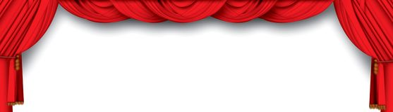 hänger upp gardiner theatren Arkivfoton