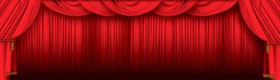 hänger upp gardiner theatren Royaltyfri Bild